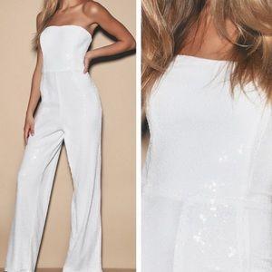Like A Diamond White Sequin Jumpsuit
